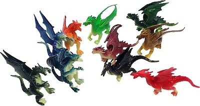"""2.5"""" - 3"""" Plastic Fire Breathing Mini Dragons - 10 Pieces"""
