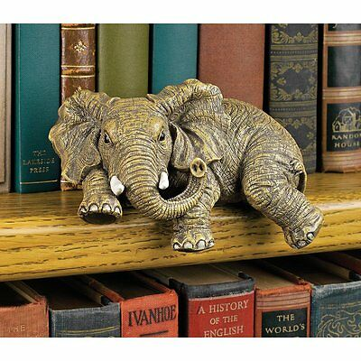 Sculptured  Elephant Shelf Sitting Statue Detailed Hand Painted Resin Home Décor