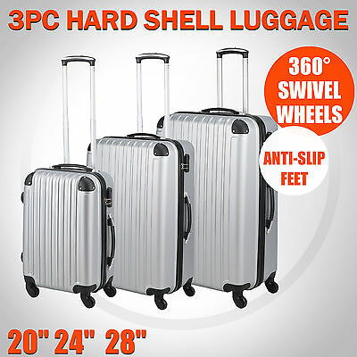 3 Pcs Luggage Suitcase Set Hard Shell Silver Cabin  Bags Trolley 4 Wheels Travel