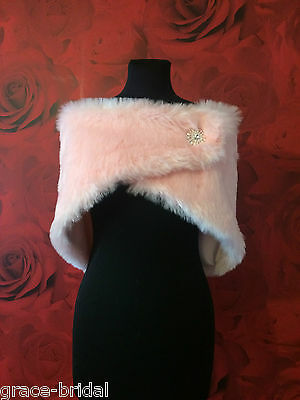 LUXURY PINK FAUX FUR WRAP WITH BROOCH FAST. ASS SIZES BNIP*free samples*