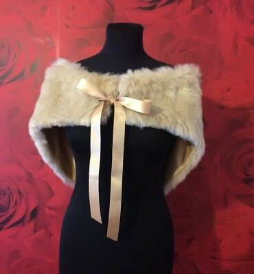 BEAUTIFUL LUXURY TOFFEE GOLD FAUX FUR WRAP SHRUG ASS SIZES BNIP **free samples**