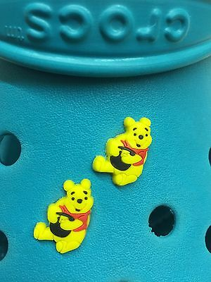 2 Winnie The Pooh Shoe Charms For Crocs & Jibbitz Wristbands. Free UK P&P.