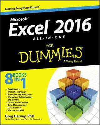 Excel 2016 All-in-one for Dummies by Greg Harvey (English) Paperback Book Free S