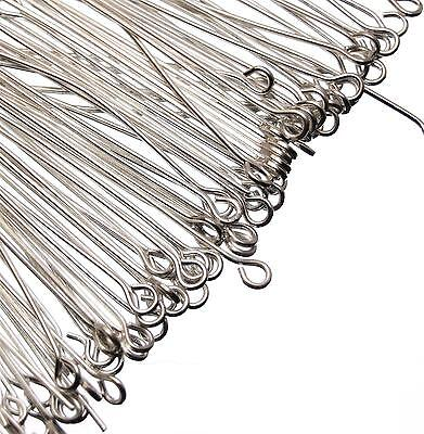 Eyepins 200, 500 or 1000 Silver Plated Jewellery Making Findings Eye Pins