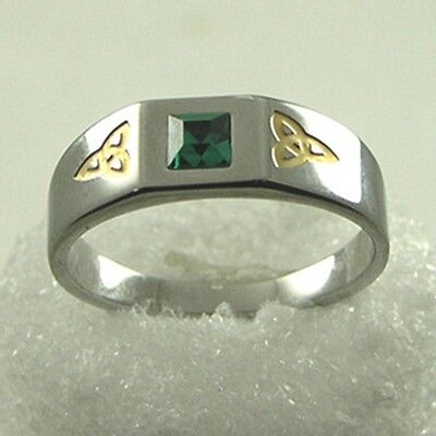Celtic Knotwork Triquetra Ring w/ Green Crystal  Stainless Steel Charmed Symbol