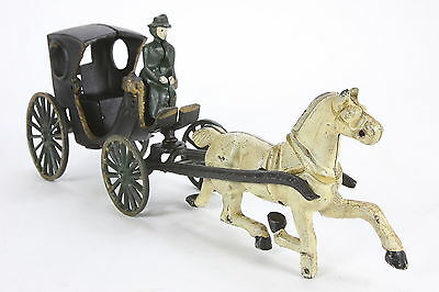 Cast Iron Horse Drawn Carriage With Driver Older Reproduction Toy Wagon