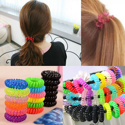 12 X Spiral Plastic Hair Bands Baby Girls Ponytail Stretchy Elastic Bobbles Band