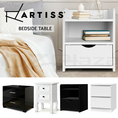 Artiss Bedside Tables Drawers Gloss Side Table Nightstand Storage Cabinet White