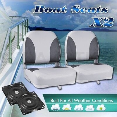 2 x Weather Resistant Swivel Fisherman Folding Boat Seats - Grey/Charoal