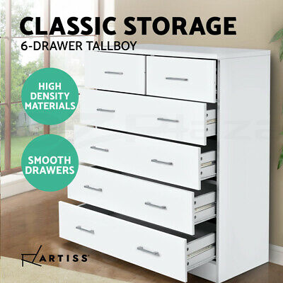 Tallboy Dresser 6 Chest of Drawers Table Cabinet Bedroom Storage White