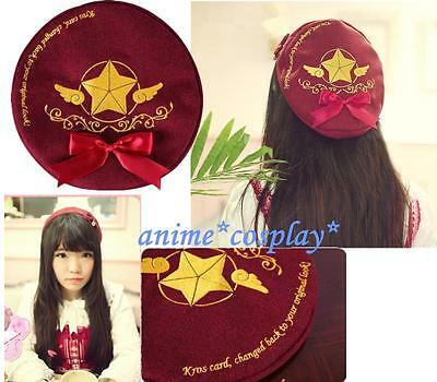 Japan Anime Card Captor Sakura Cosplay The Clow Hat Red bow-knot Cap NEW