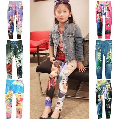 Childrens Baby Kids Girls Leggings Pants Cartoon Printed Stretchy Pants Trousers