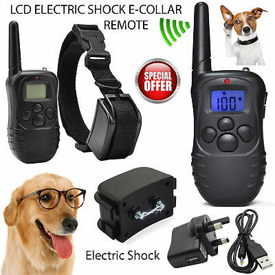 Rechargeable Electric Shock Dog Training E-Collar Anti Bark Remote Controller UK