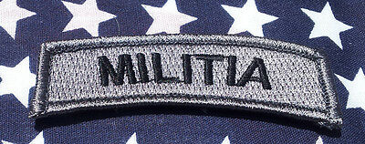 Militia  Rocker Tab  Acu Tactical Morale 3 Inch Rocker Hook Patch