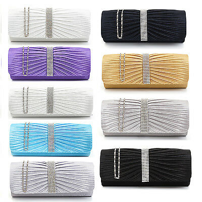 Satin Diamante Womens Designer Party Wedding Clutch Hand Bag Evening Strap Purse