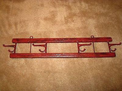 Antique Red Painted Primitive Wall Hanging Hat / Coat Rack w/ 4 Swing Arm Hooks