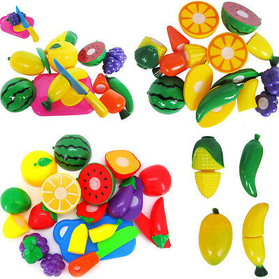 Play Food For Kid Children Plastic Vegetable Fruit Toy Role Kitchen Cutting Set