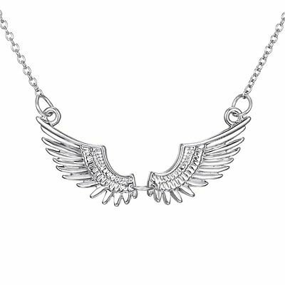 Fashion Women Silver Angel Wing White Gold Plated Necklace Pendant Chain Jewelry