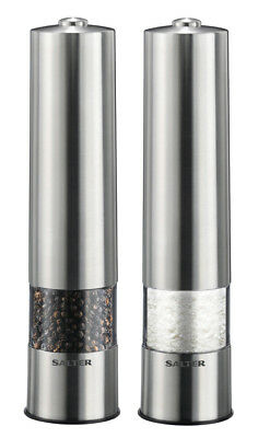 Salter Pair of Stainless Steel Electric Salt & Pepper Mill Grinder Set + Light