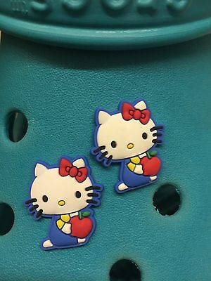 2 Hello Kitty Apple Shoe Charms For Crocs & Jibbitz Wristbands. Free UK P&P