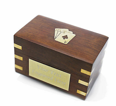 Personalised Playing Card Storage Box with Engraved Plaque and 2 Card Decks