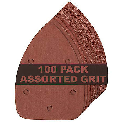 Assorted Grades Mouse Sanding Sheets For Palm Sanders Bosch PSM 100A 10-100 Pack