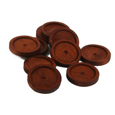 10pcs Round Antique Wooden Cameo Base Setting / Tray Wooden Crafts Acces New