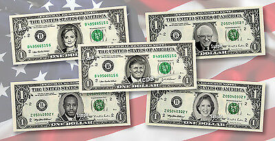 PRESIDENTIAL CANDIDATES on REAL Money Cash Dollar Bank Note Currency President