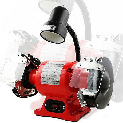 "8"" Electric Bench Grinder W/Flexible Light 3/4 HP Motor"