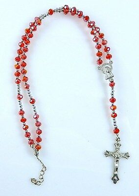 Catholic Rosary Red Glass Faceted Prayer Beads Necklace Crucifix Religious
