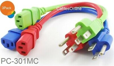 3-Pack 1ft Short 3-Conductor AC Power Cable Three Colors , Blue, Green, Red