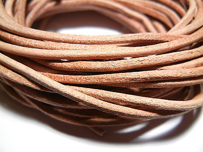 Choice of 1mm/ 1.5mm/ 2mm - 5 Meters Natural Tan Leather Cord String Thong Wire