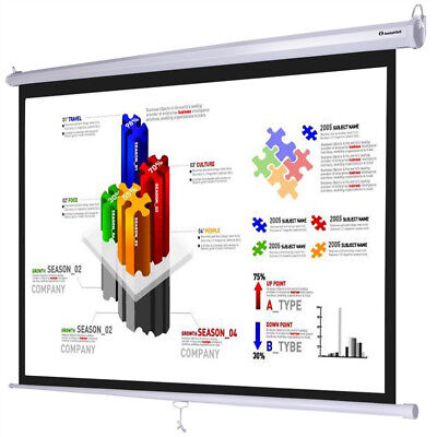 "Instahibit™ 120"" 4:3 96"" x 72"" Manual Pull Down Projector Projection Screen"