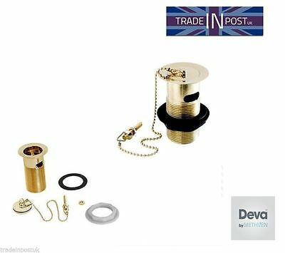 Deva DW300/501 Slotted Gold Basin Waste with Gold Metal Plug & Gold Chain