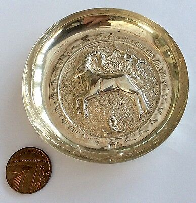 Superb Hallmarked Vintage Solid Silver Pin Tray Dish Depicts A Goat (Capricorn)