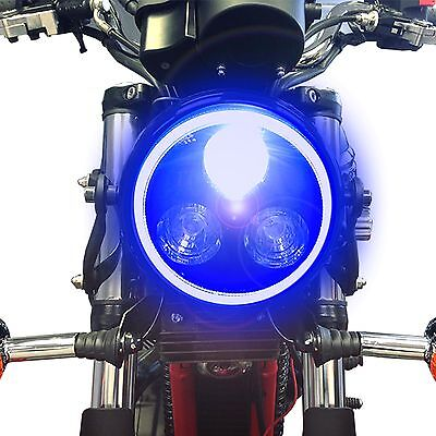 Black LED Headlight with Blue Angel Eye Halo Ring Motorcycle Cafe Racer Project