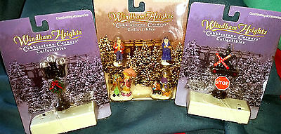 cobblestone corners windham heights lamp post stop sign people christmas village