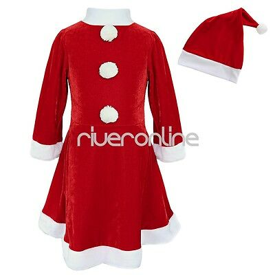 Girls Mrs Christmas Santa Claus Outfit Dressing Up Costume Fancy Dress Size 3-10