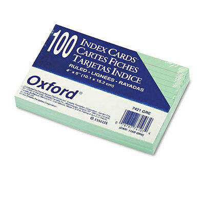 """Oxford Ruled Index Cards, 4 X 6, Green, 100/pack"""
