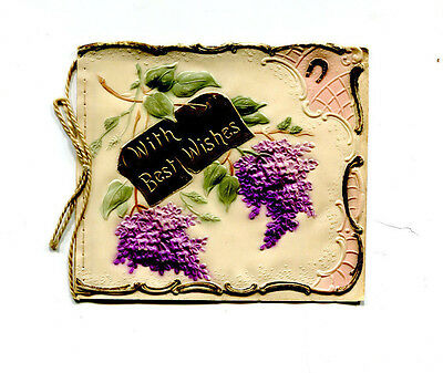 Vintage CHRISTMAS CARD embossed plastic with purple flowers early 1900s