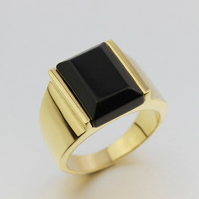 Size 7-12 Stainless Steel Black Large Agate Ring Gold/Silver Band Men's Jewelry