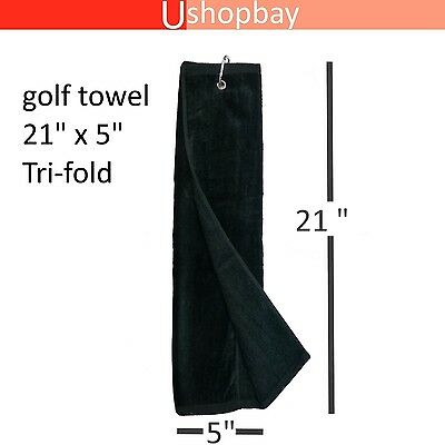 "Golf Tour Towel Tri-fold  21"" x 5"" Golf  Velour Black Color Key chain Hook"