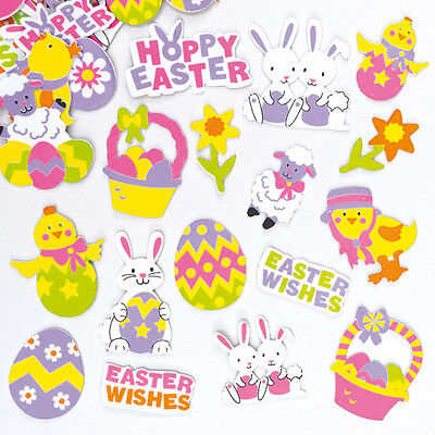 Easter Foam Stickers for Children to Decorate Cards and Crafts (Pack of 100)