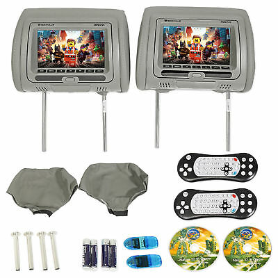 "Rockville RVD721-GR 7"" Gray Dual DVD/USB/HDMI/SD Car Headrest Monitors + Games"