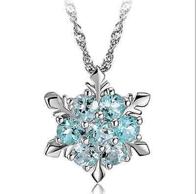 Vintage Charm Lady Blue Crystal Snowflake Frozen Flower Silver Necklace Jewerly