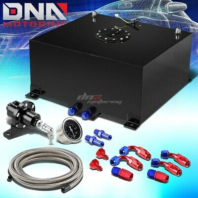 15.5 Gallon Aluminum Fuel Cell Tank+Cap+Oil Feed Line+Pressure Regulator Black