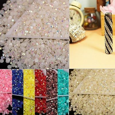 2000pcs 12g Half Round Acrylic Crystal Flat Beads For Craft / Nail Art 3mm