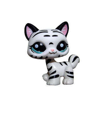 Littlest Pet Shop Animal Black Striped White Cat Loose Figure Child Girl Toy UK