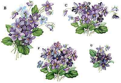 Purple Violet Flower Select-A-Size Waterslide Ceramic Decals Bx