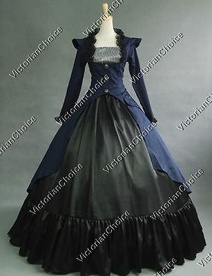 Victorian Edwardian Military 3PC Gown Steampunk Punk Dress Reenactment NAVY 167